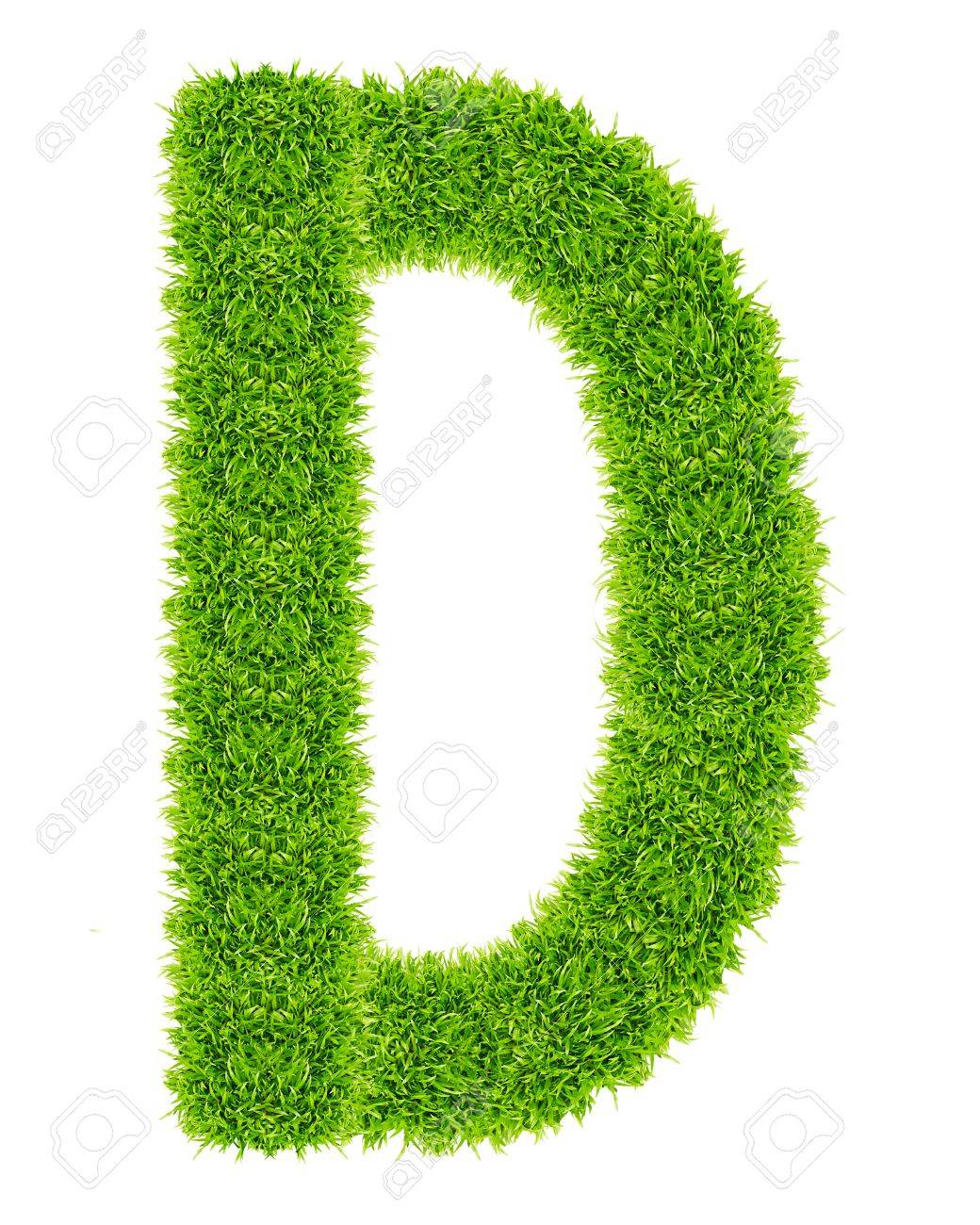 green grass letter D Isolated Stock Photo - 9715246