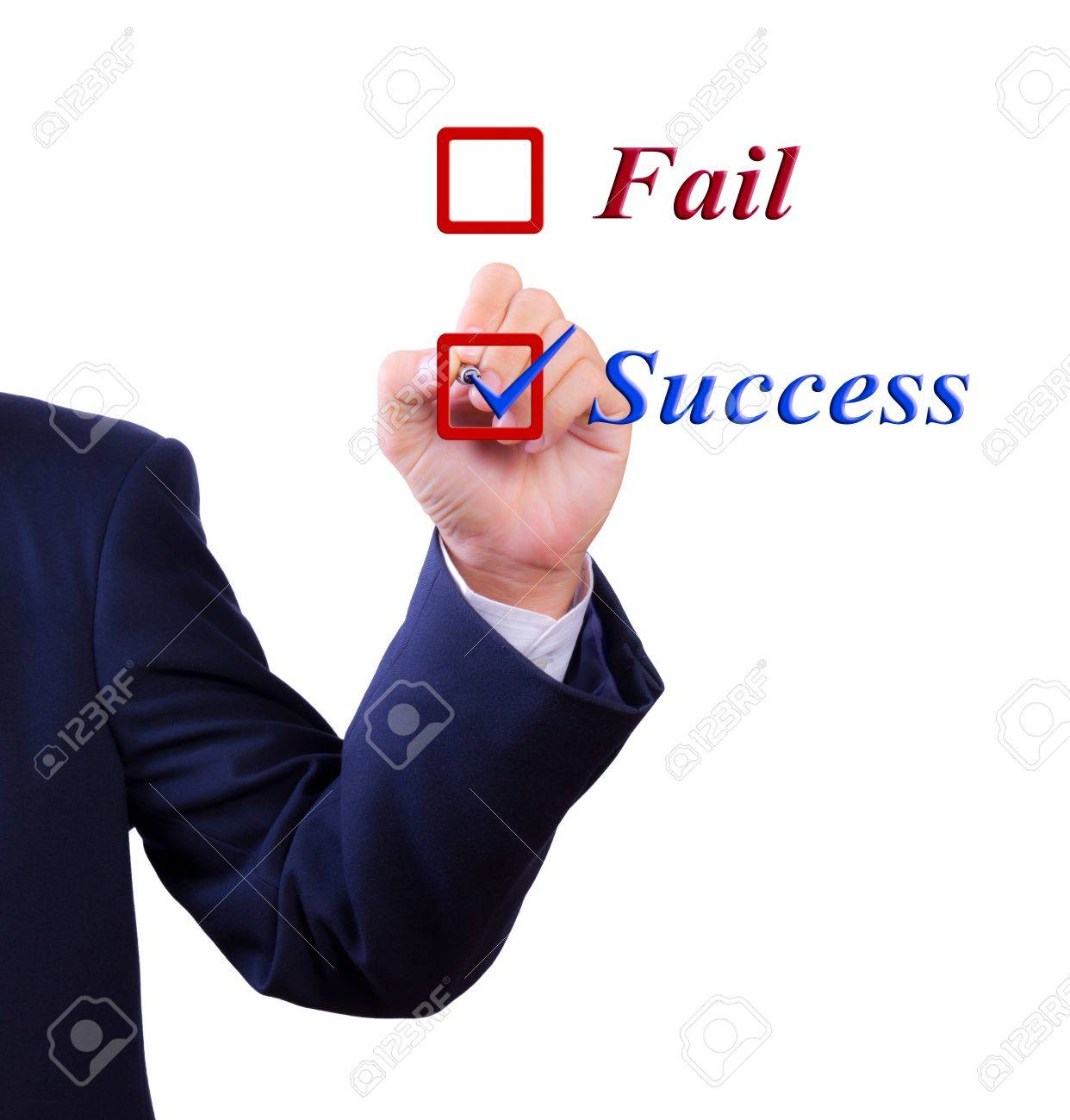 business man hand choose success word Stock Photo - 10454656