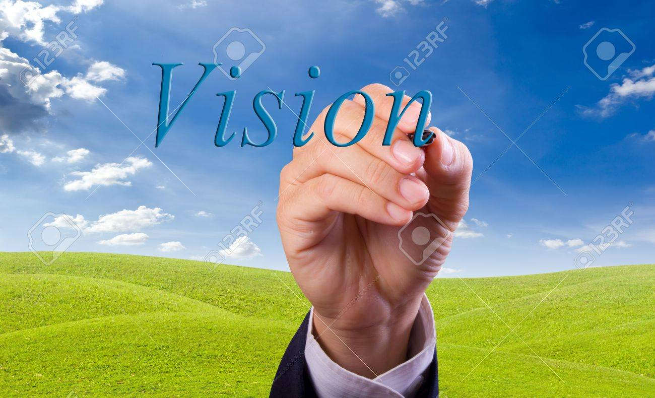business man hand writing vision word Stock Photo - 10454687