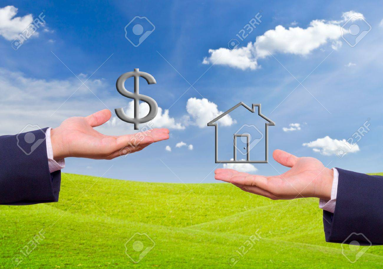 business man hand exchange dollar sign and house icon Stock Photo - 10454551