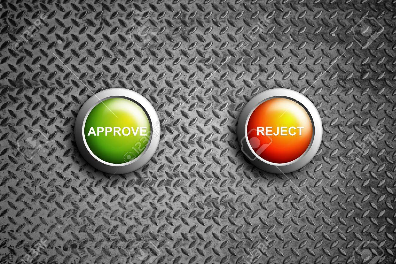 approve and reject button on diamond steel texture Stock Photo - 11201797