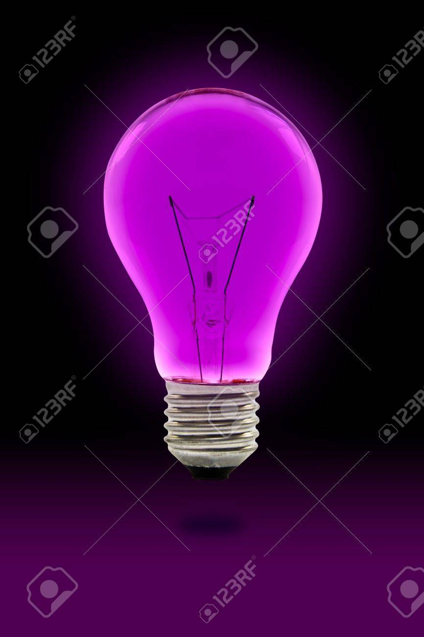 Purple Light Bulb: Stock Photo - purple light bulb with clipping path,Lighting