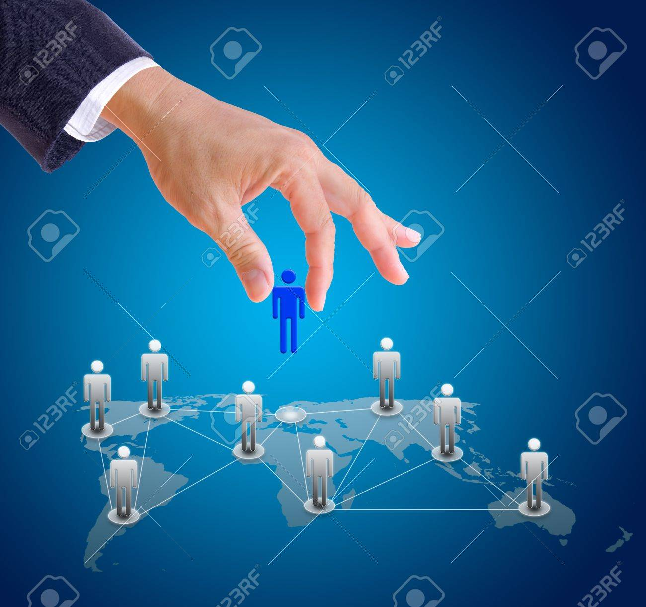 business man hand choosing people from social network Stock Photo - 11561989