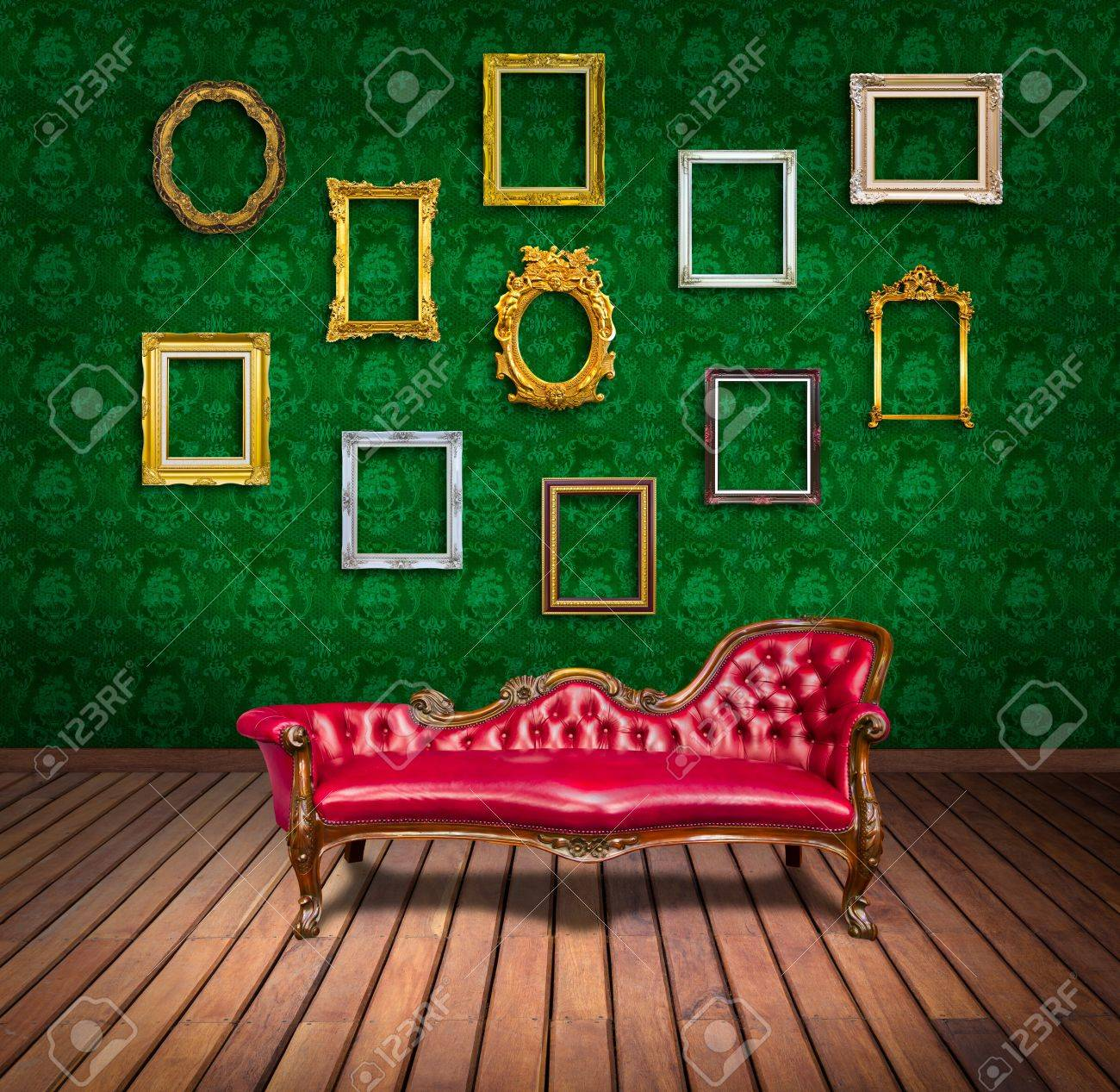 vintage luxury armchair and frame in  room Stock Photo - 13104832