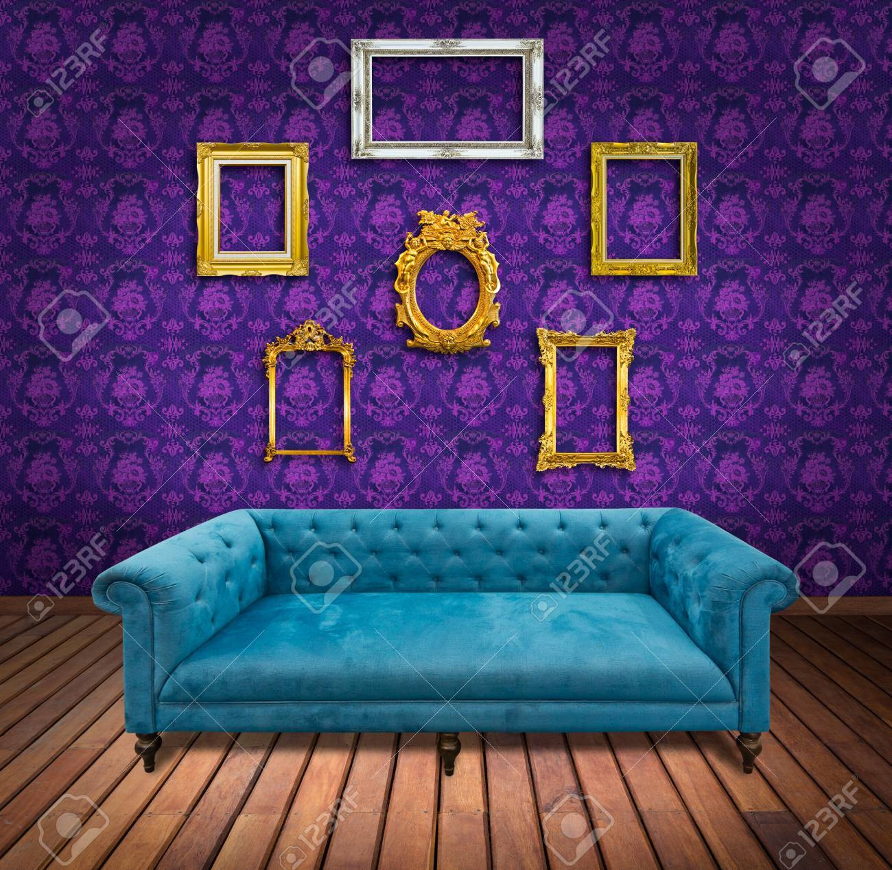 Sofa and frame in pink wallpaper room Stock Photo - 13104849