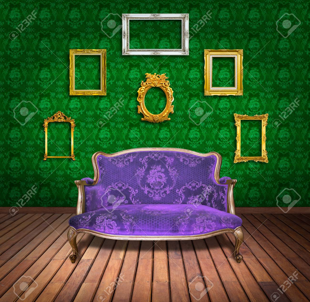 vintage luxury armchair and frame in green wallpaper room Stock Photo - 13104818