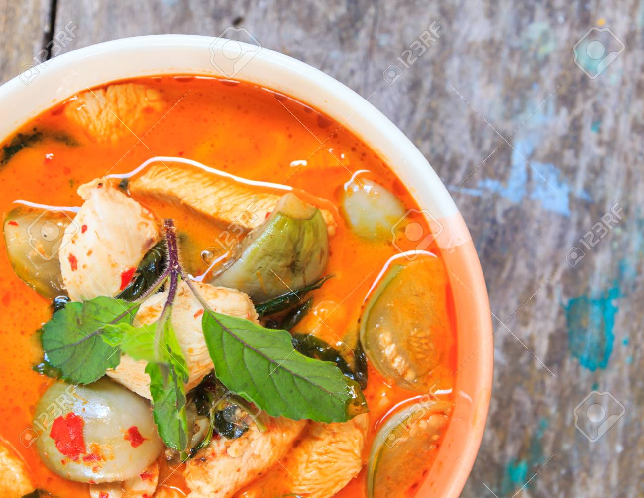 01379c0b Chicken Red Curry, Delicious Thai Cuisine Stock Photo, Picture And ...