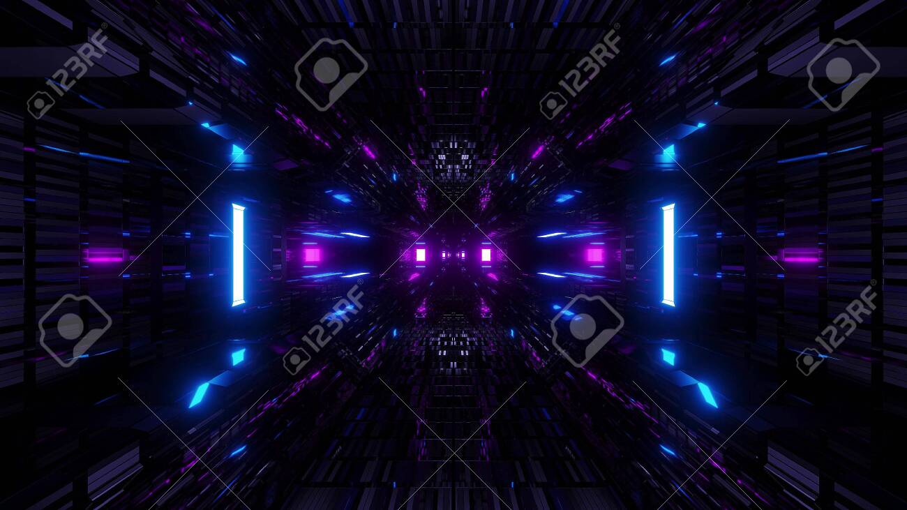 128392704 textured scifi glitter tunnel corridor wallpaper background 3d illustration
