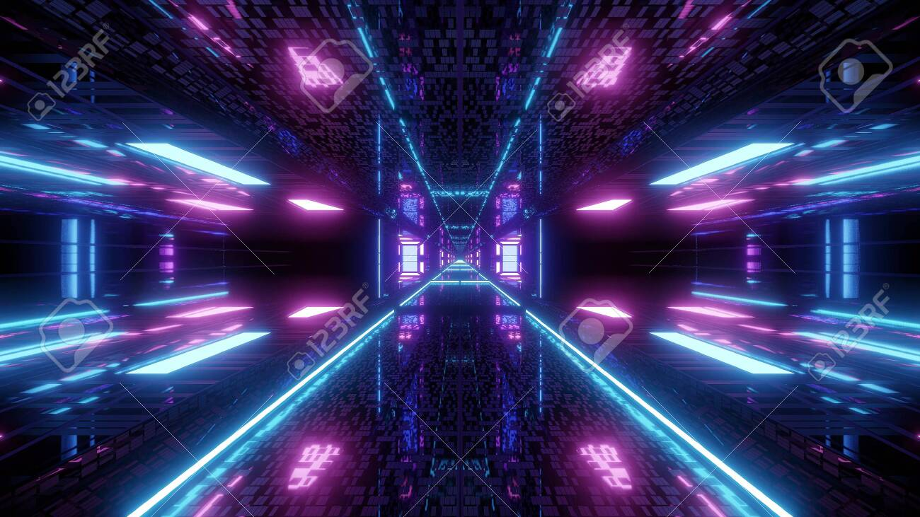 128392763 textured scifi glitter tunnel corridor wallpaper background 3d illustration