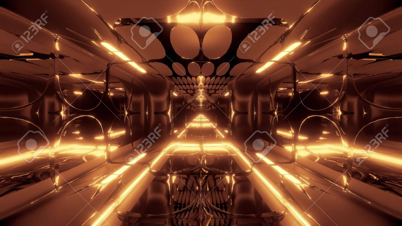 Glowing Futuristic Horror Sci Fi Temple With Nice Reflection 3d Illustration Wallpaper Background Design
