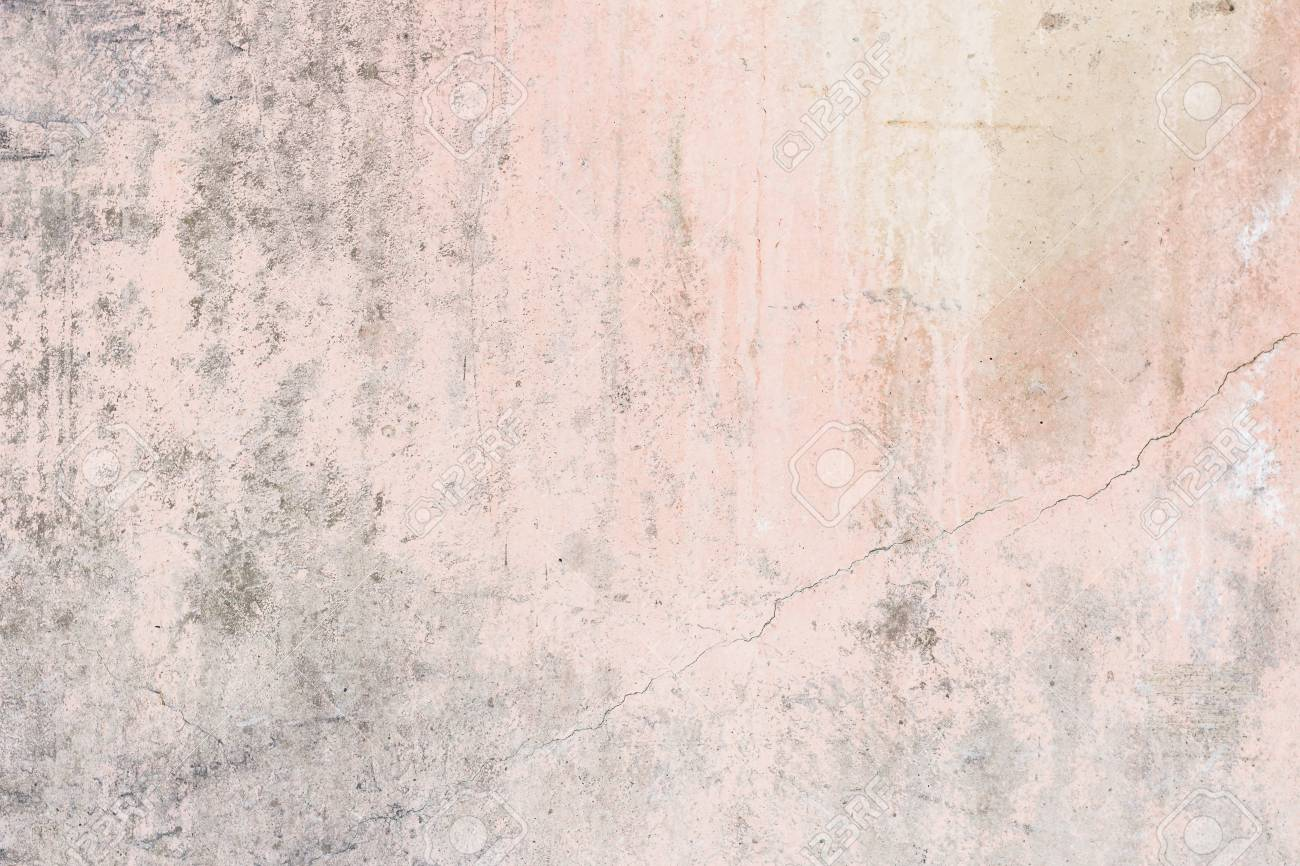 Worn Pale Pink Concrete Wall Texture Background With Paint Partly