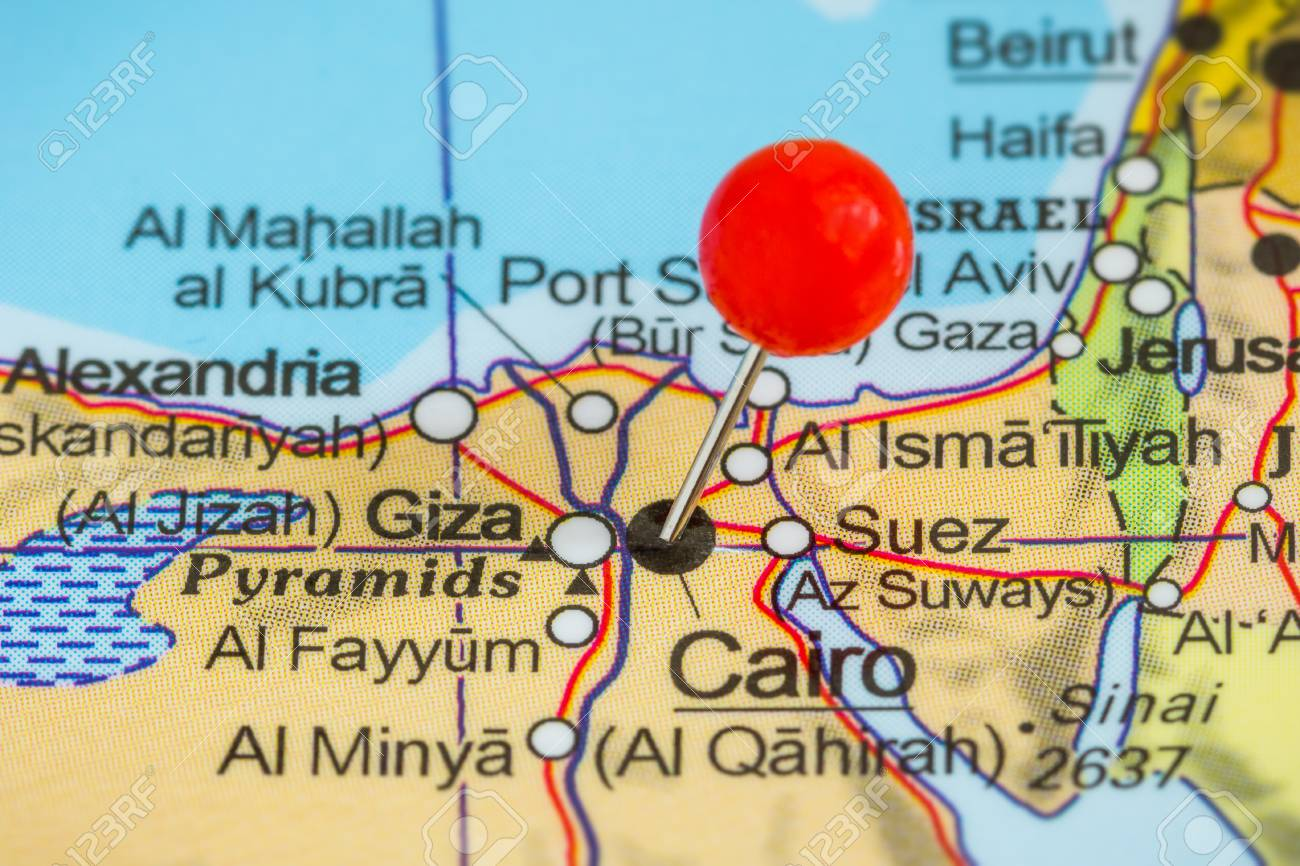 Close-up Of A Red Pushpin On A Map Of Cairo, Egypt Stock Photo ...