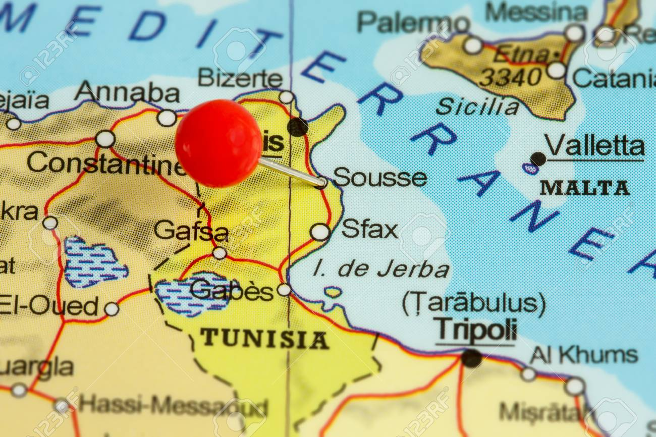 Sousse Tunisia Map Close up Of A Red Pushpin On A Map Of Sousse, Tunisia Stock Photo