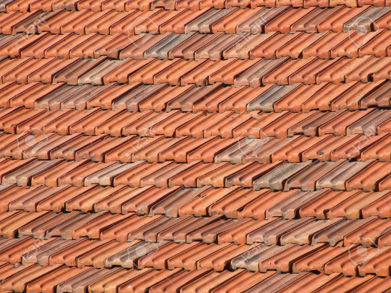 Red And Orange Ceramic Tiles On A Roof. Mediterranean Architecture ...