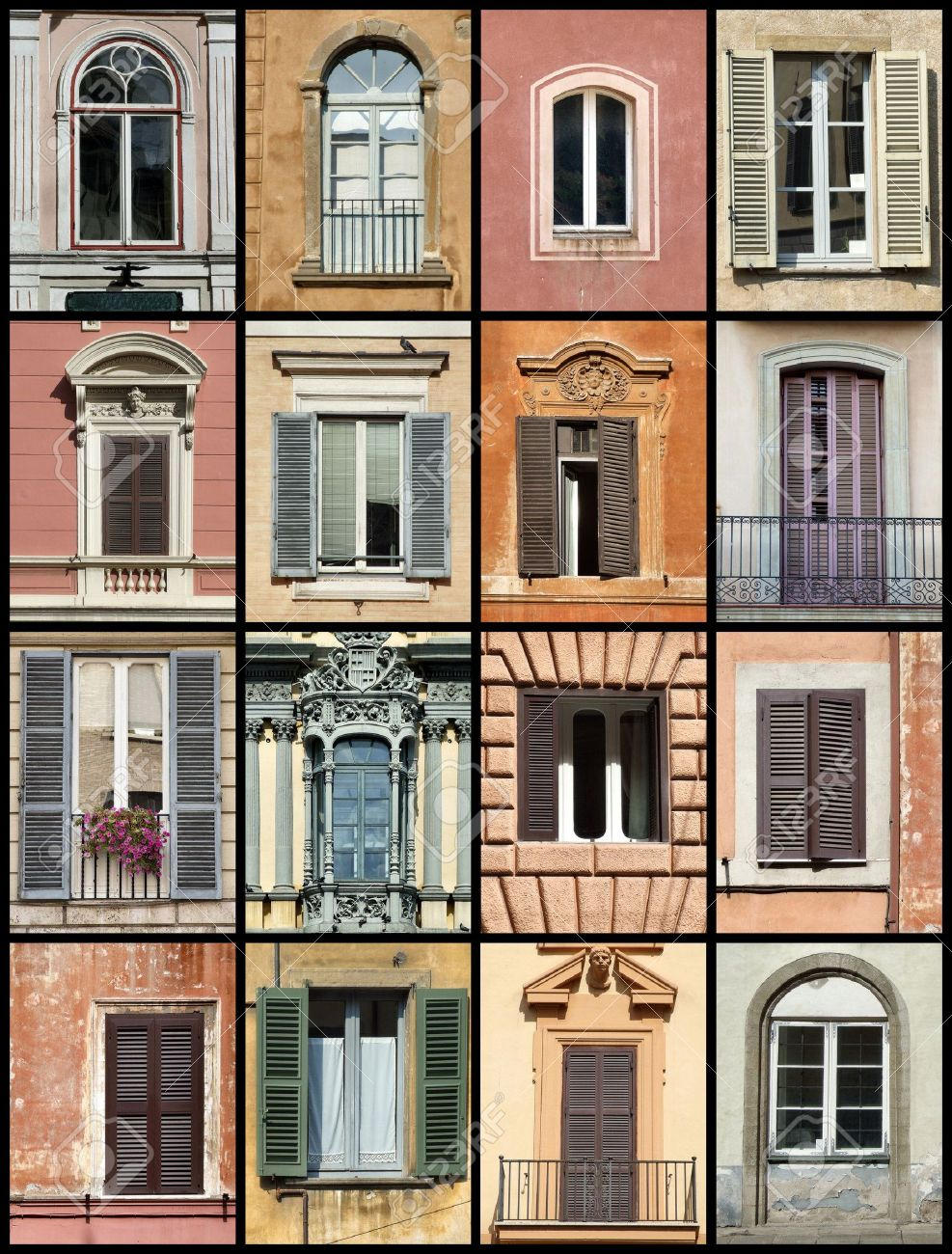 Colorful composition made of windows - architecture collage. Windows from Rome, Barcelona, Tallinn and Bergamo. Stock Photo - 999448