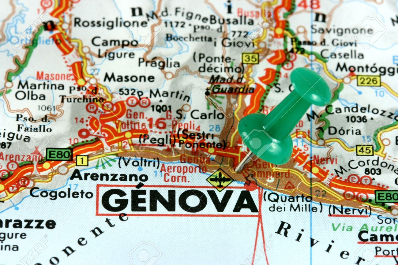 Genoa Genova In Italy Europe Push Pin On An Old Map Showing