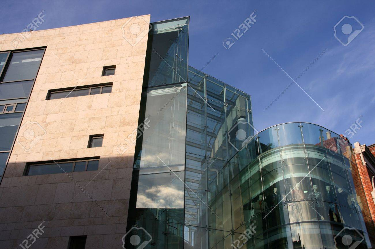 Modern Office Building And Shopping Mall In Dublin Stock Photo
