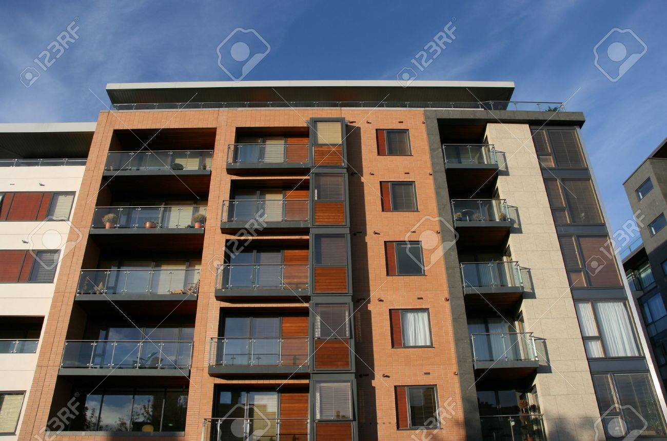 Genial Modern Apartment Building In Dublin, Ireland. Blue Sky In Background. Stock  Photo