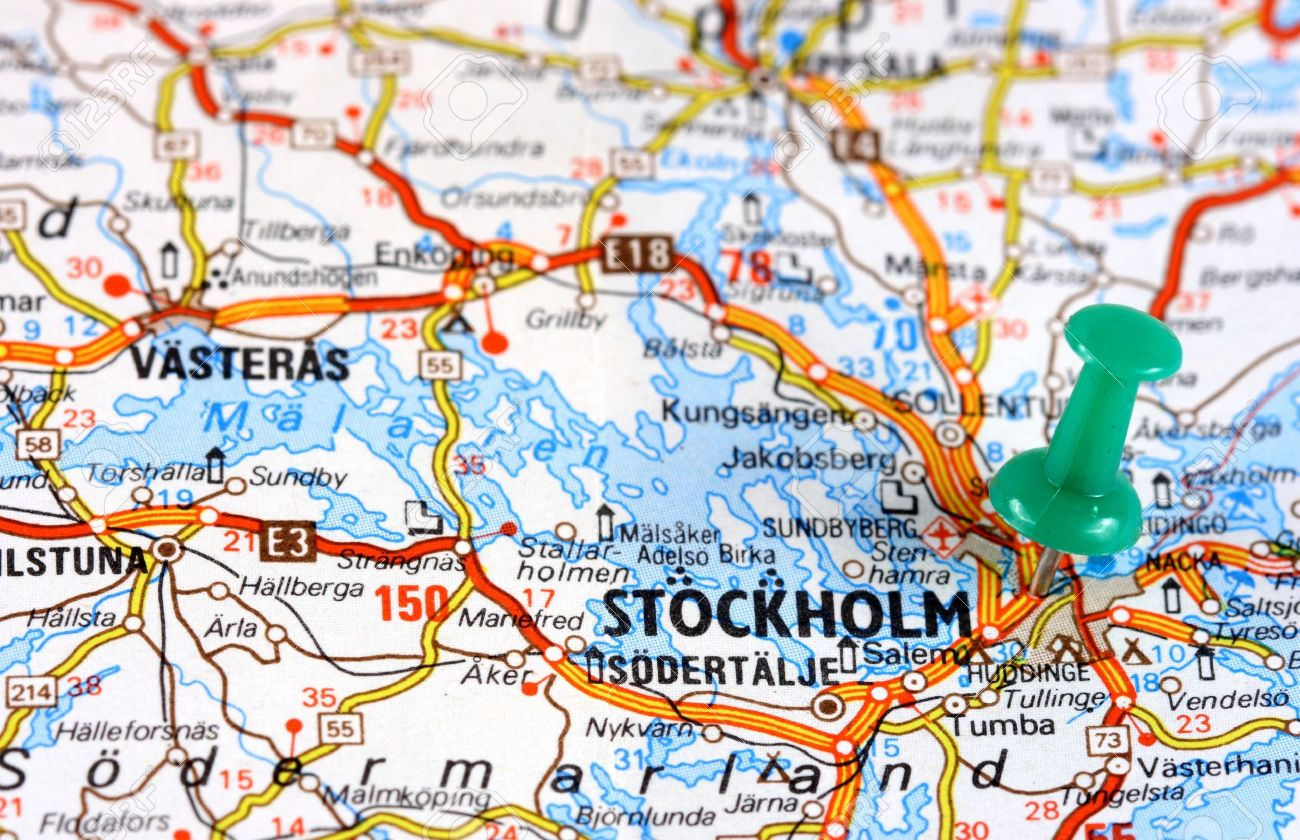 Stockholm In Sweden Europe Push Pin On An Old Map Showing Travel - Sweden european map