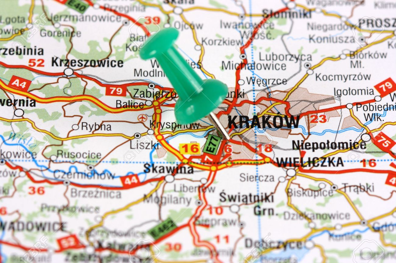 Krakow, Poland, Europe. Push pin on an old map showing travel.. on inowroclaw poland map, poland atlas map, zambrow poland map, bialowieza forest poland map, lukow poland map, jaworzno poland map, sobibor poland map, minsk poland map, warsaw poland map, nisko poland map, auschwitz-birkenau concentration camp map, sweden map, cracow poland on a map, belchatow poland map, stawiski poland map, auschwitz poland map, lodz poland map, romania map, mazovia poland map, poland religion map,