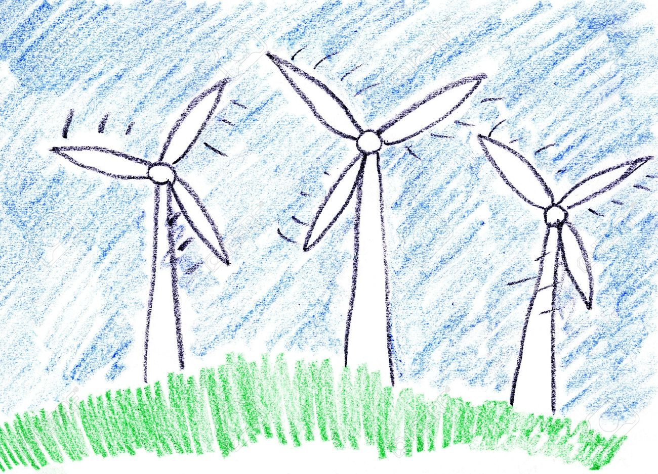 Child drawing of alternative power generation made with wax crayons Stock Photo - 3095403