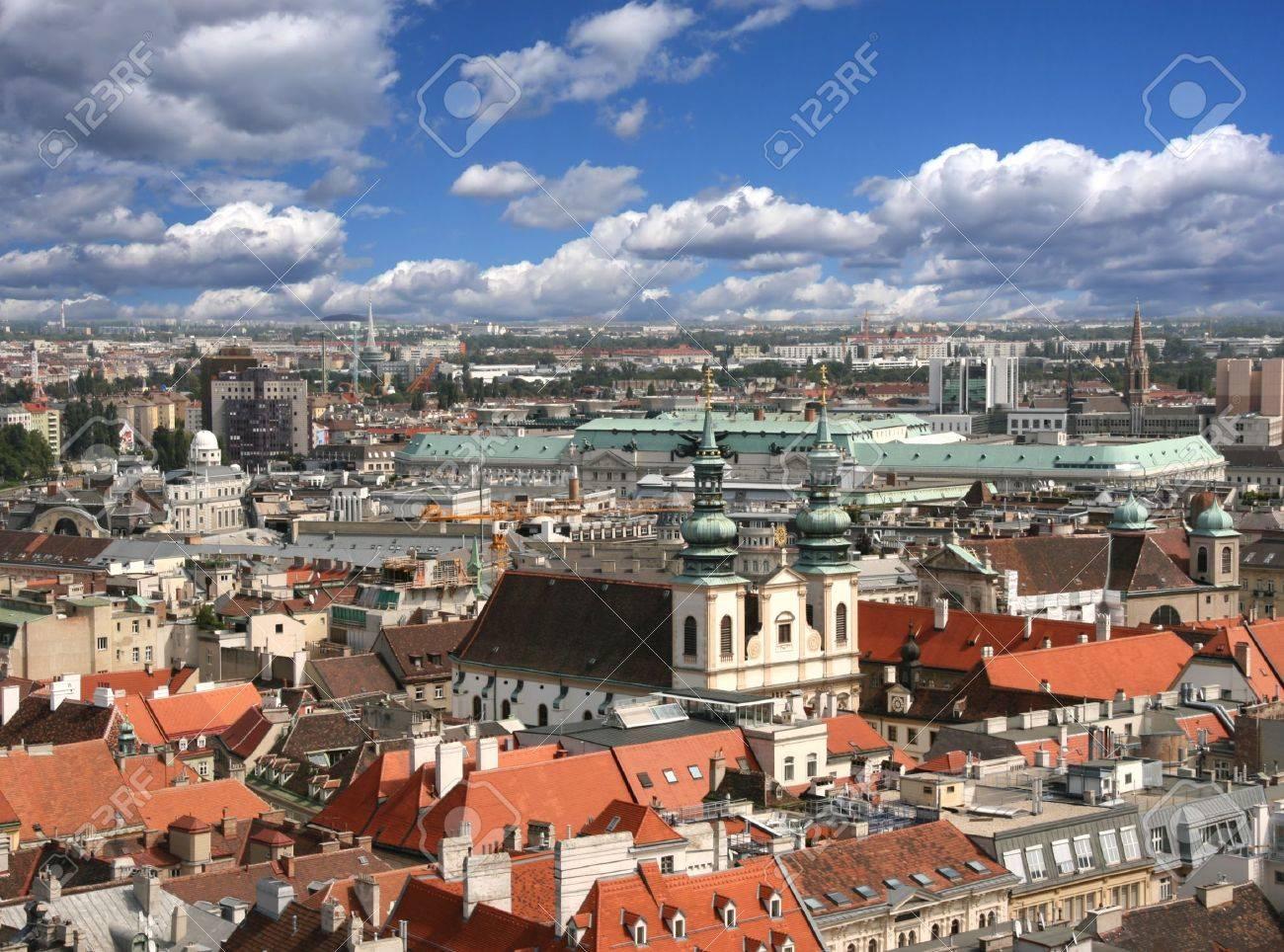 Vienna aerial view - University Church, Dominican Church and Regierungsgeb&auml,ude are visible Stock Photo - 3160702