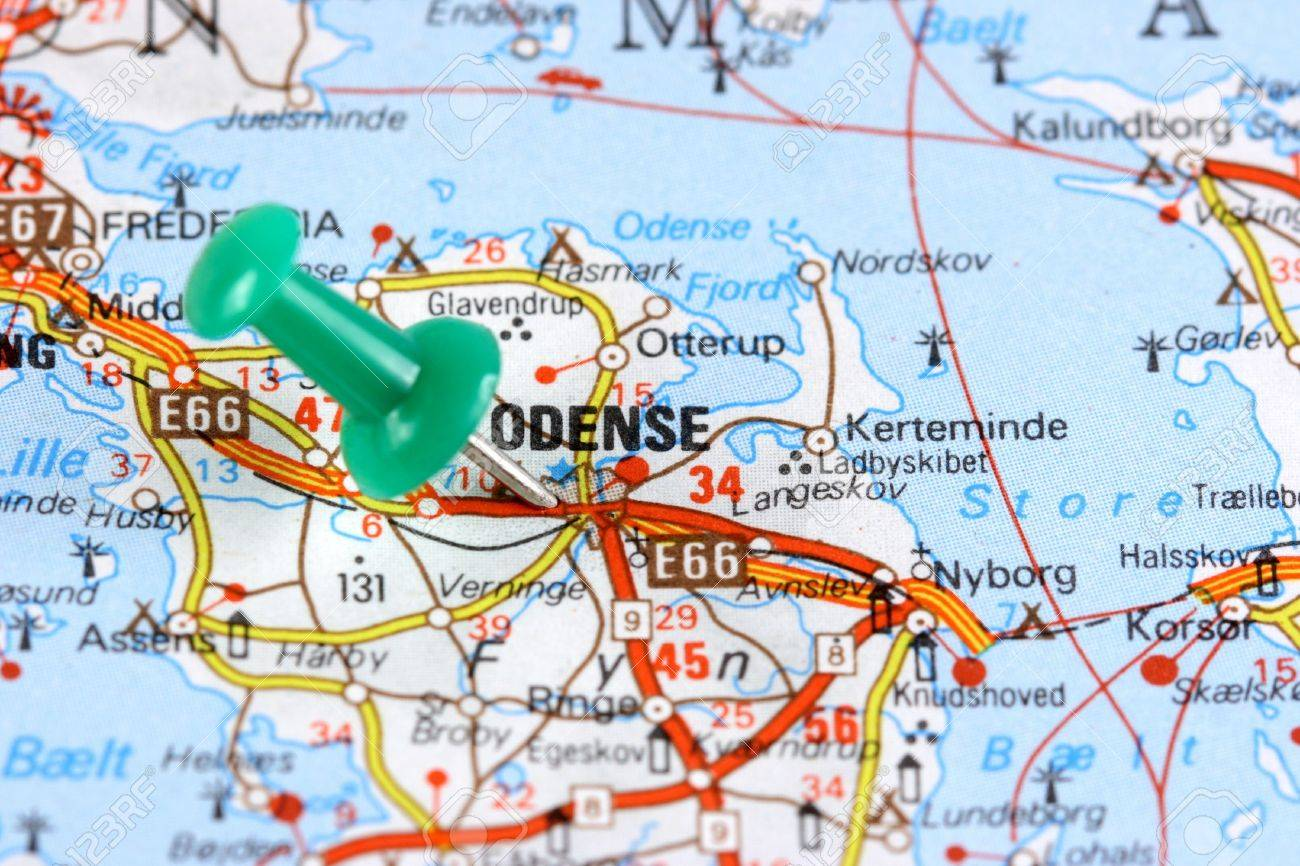 Odense Denmark Europe Push Pin On An Old Map Showing Travel