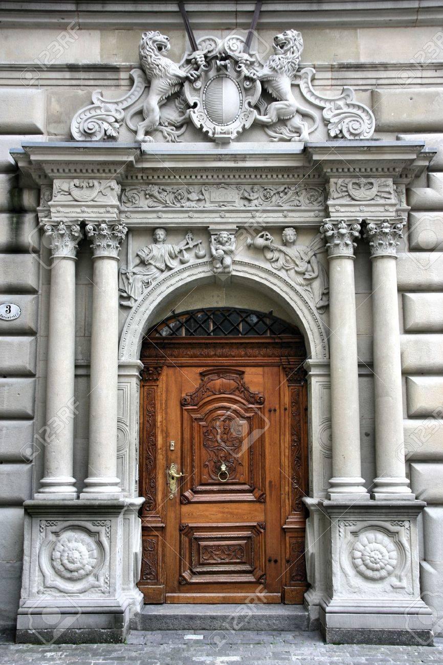 Beautiful wooden door in Luzern, Switzerland. Old architecture. Stock Photo - 3563874
