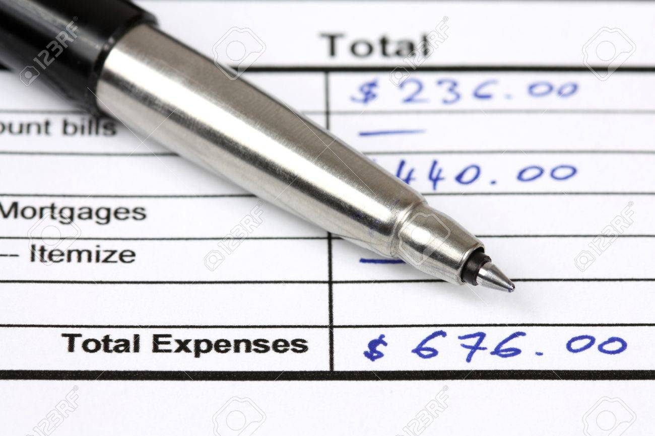 consumer credit application total expenses written with blue