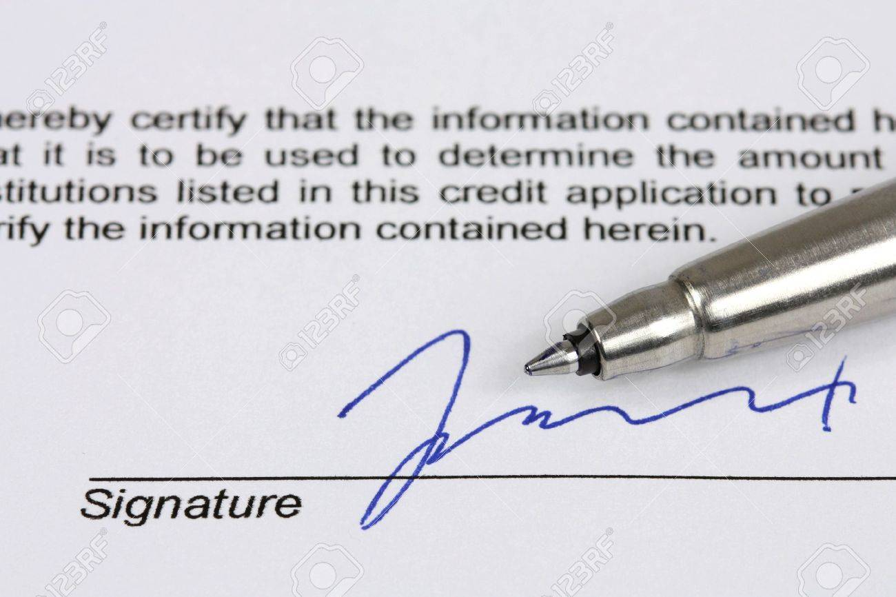 consumer credit application fictional signature with blue ink