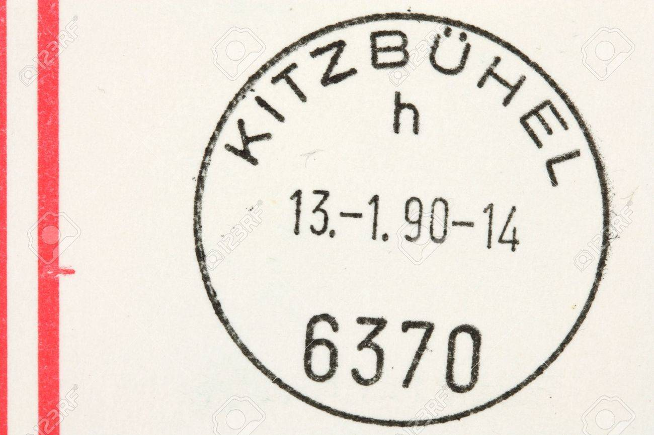 cancellation stamp from kitzbuhel austria on a letter stock photo 4800426