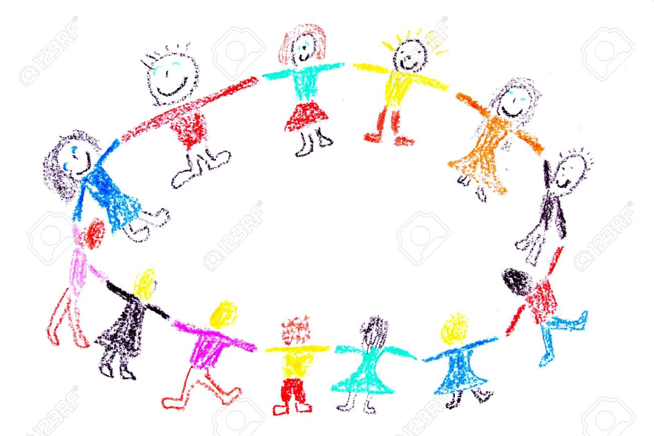 Uncategorized Child Drawing child drawing of a colorful dancing children made with wax crayons stock photo 4919894