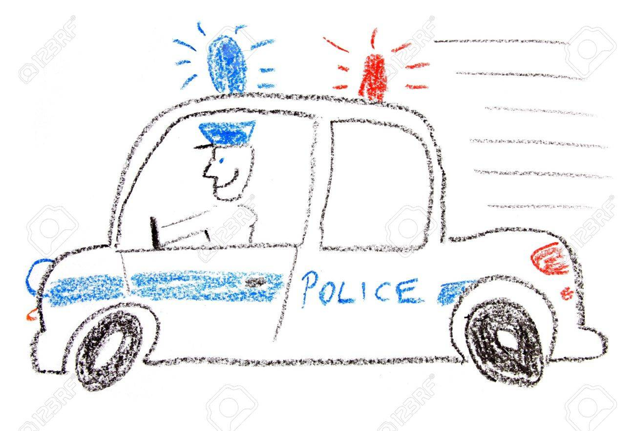 Child Drawing Of A Police Car Made With Wax Crayons Stock Photo