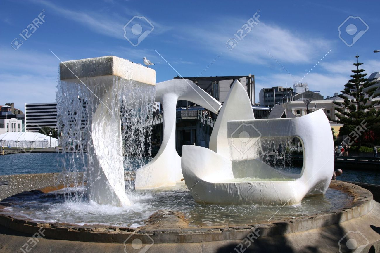 Water fountains outdoor new zealand - Modern Art Fountain In Wellington Capital City Of New Zealand Stock Photo 4949441