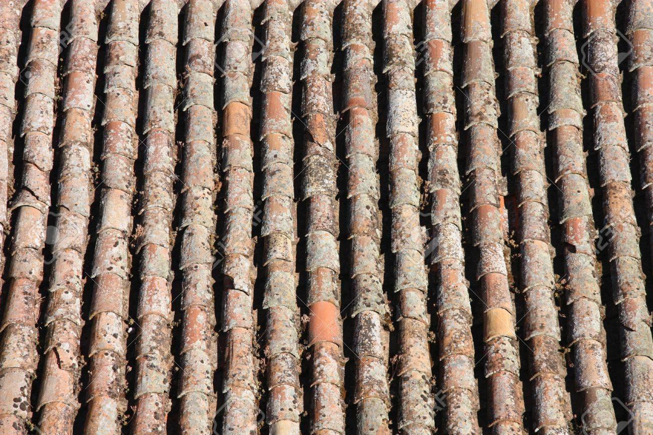 Ancien Arriere Plan Sur Le Toit Architecture Mediterraneenne Typique Texture Tuiles Oranges Recouverts De Lichen Banque D Images Et Photos Libres De Droits Image 5644904