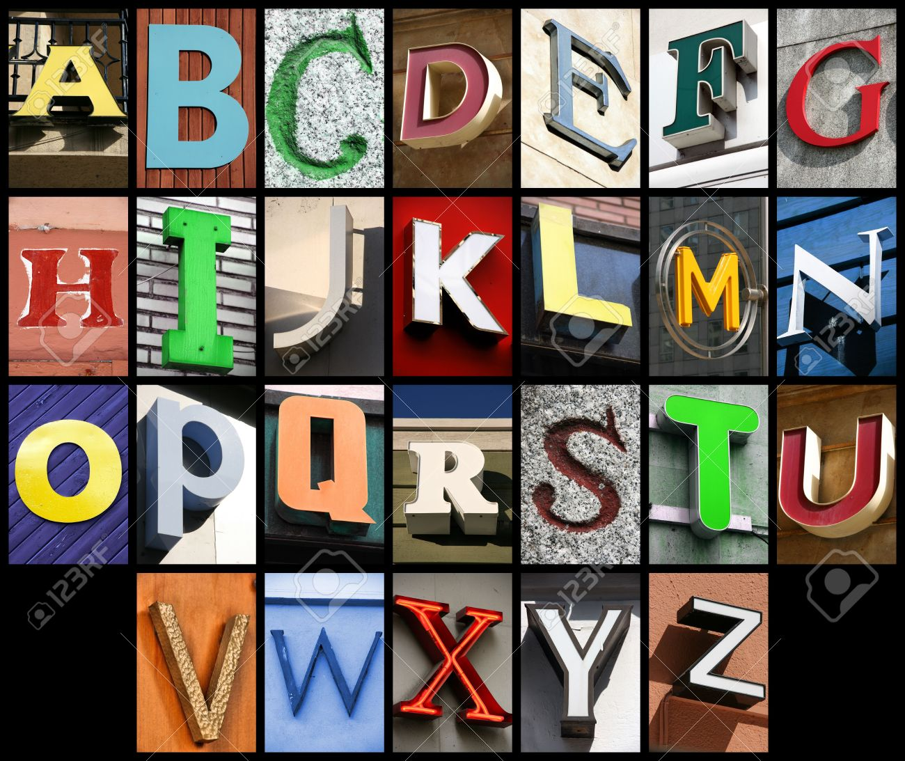 city abc alphabet collage colorful letters font from urban buildings stock photo