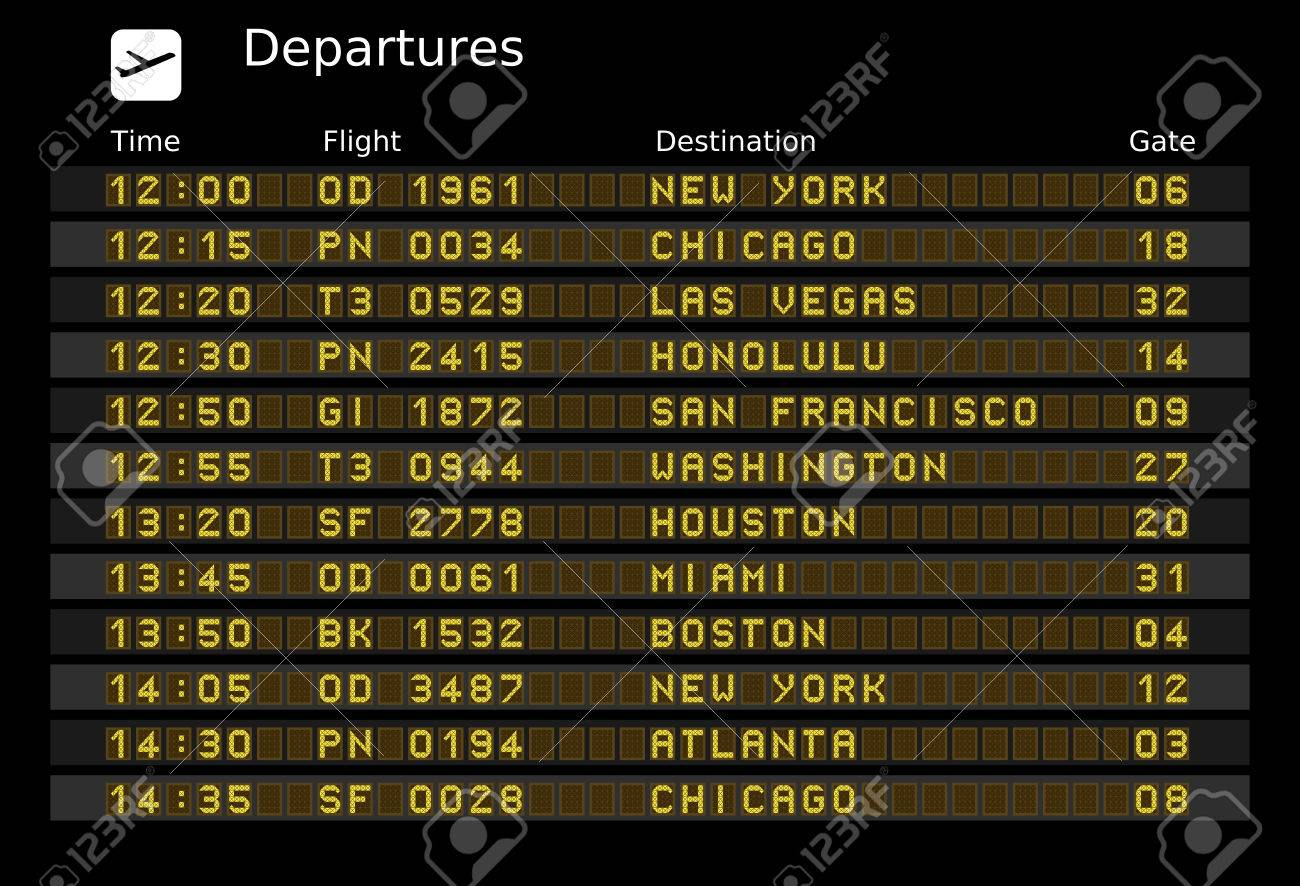 Departure board - destination airports. Stock Vector - 6737646