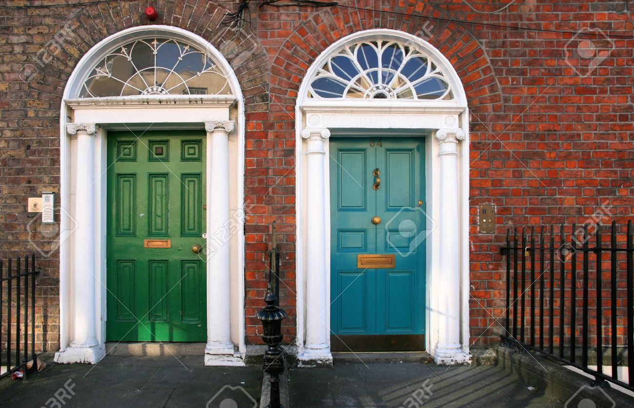 georgian architecture of dublin twin doors in green and blue stock