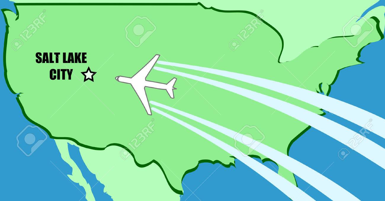 Salt Lake City On Us Map.Simplified Map Of Usa With Airplane Inflight To Destination Salt