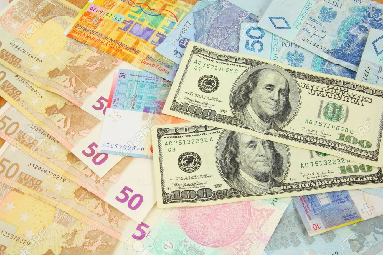 World finance and foreign currency exchange concept - money background