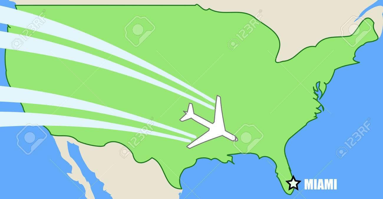 Miami Mapa Estados Unidos.Mapa Vectorial Simplificado De Estados Unidos Con Su Vuelo De Avion A Destino Miami Florida