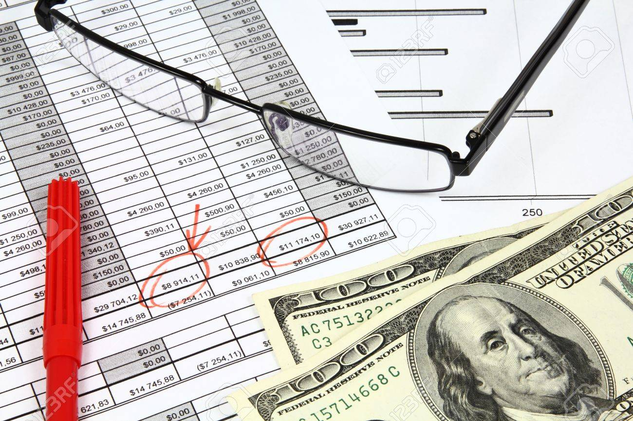 Business composition. Market analysis - income statement, finance graphs, US dollars money and a red pen. Stock Photo - 9108174