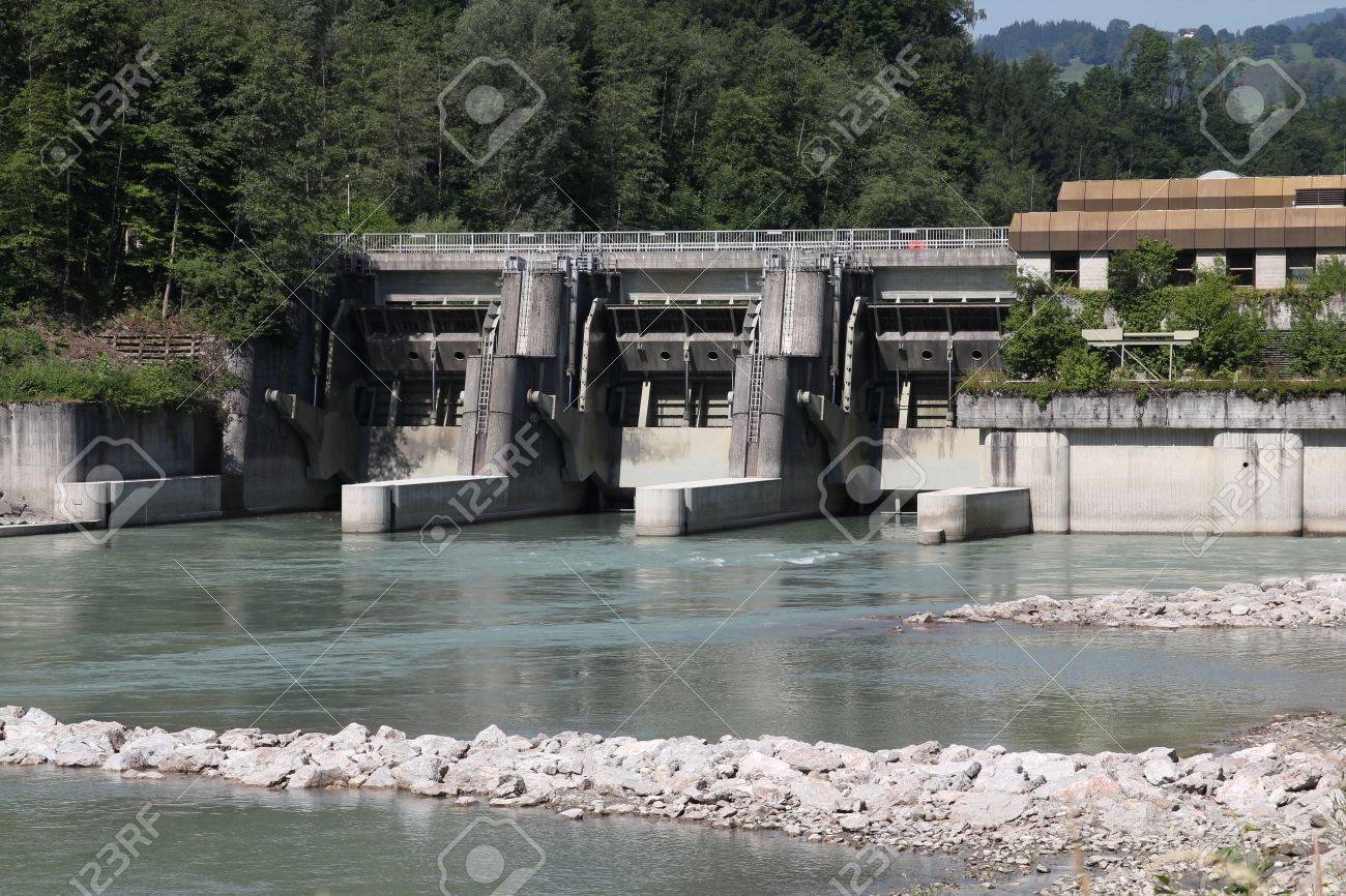 Hydro power plant on Salzach river in Schwarzach im Pongau, Austria. Concrete dam. Stock Photo - 9445845