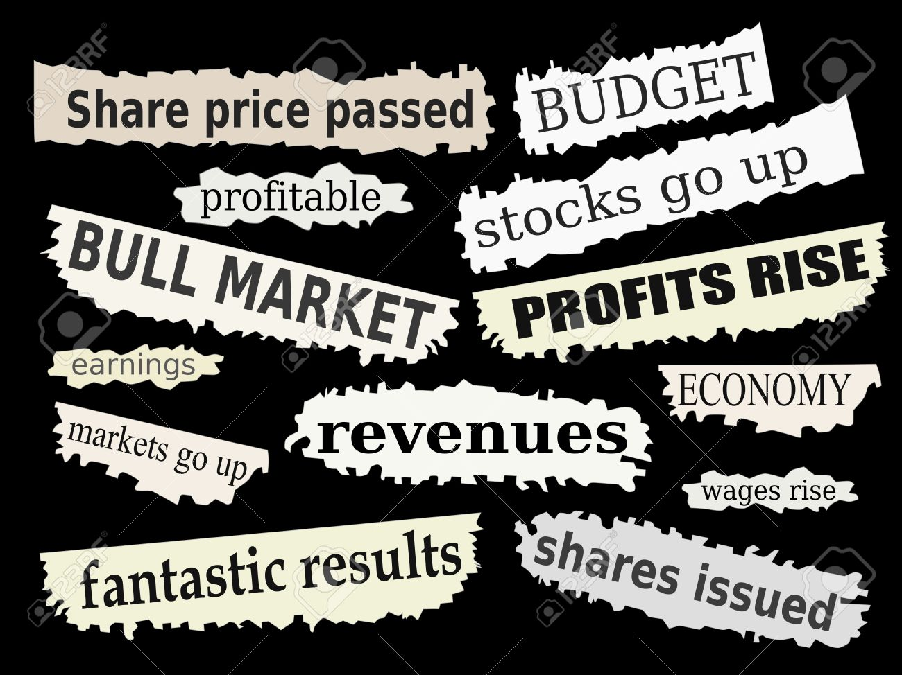 Newspaper cuttings and headlines. Good financial news with positive reactions to markets. Stock Vector - 9481511