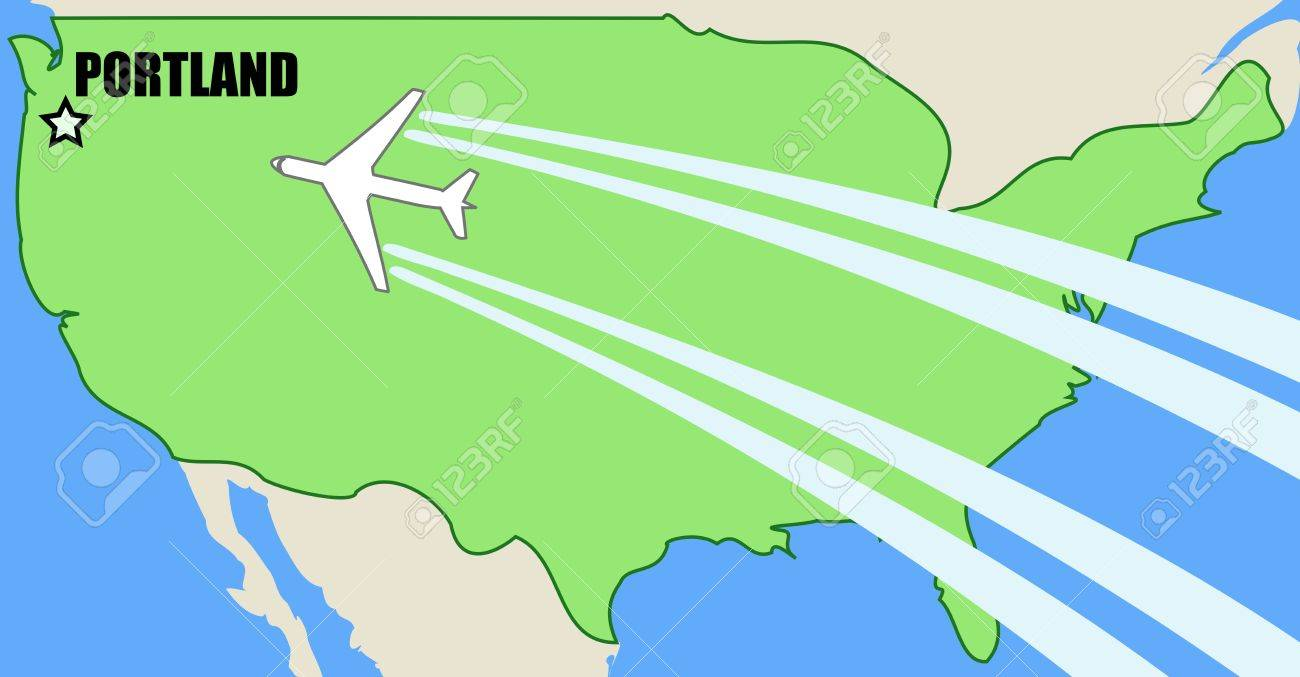 Map Of USA With Airplane Inflight To Destination Portland, Oregon ...