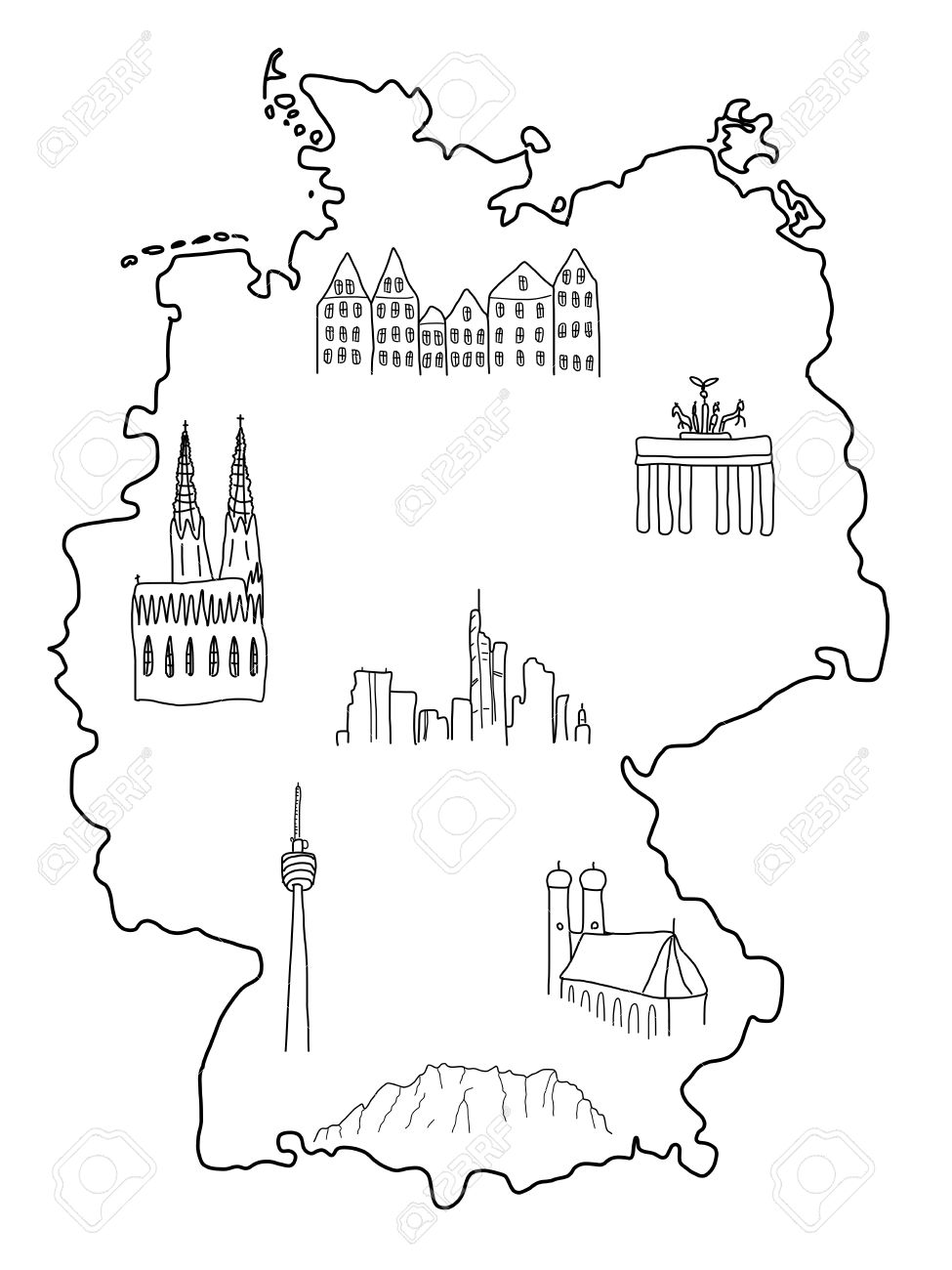 Frankfurt Karte Deutschland.Stock Photo