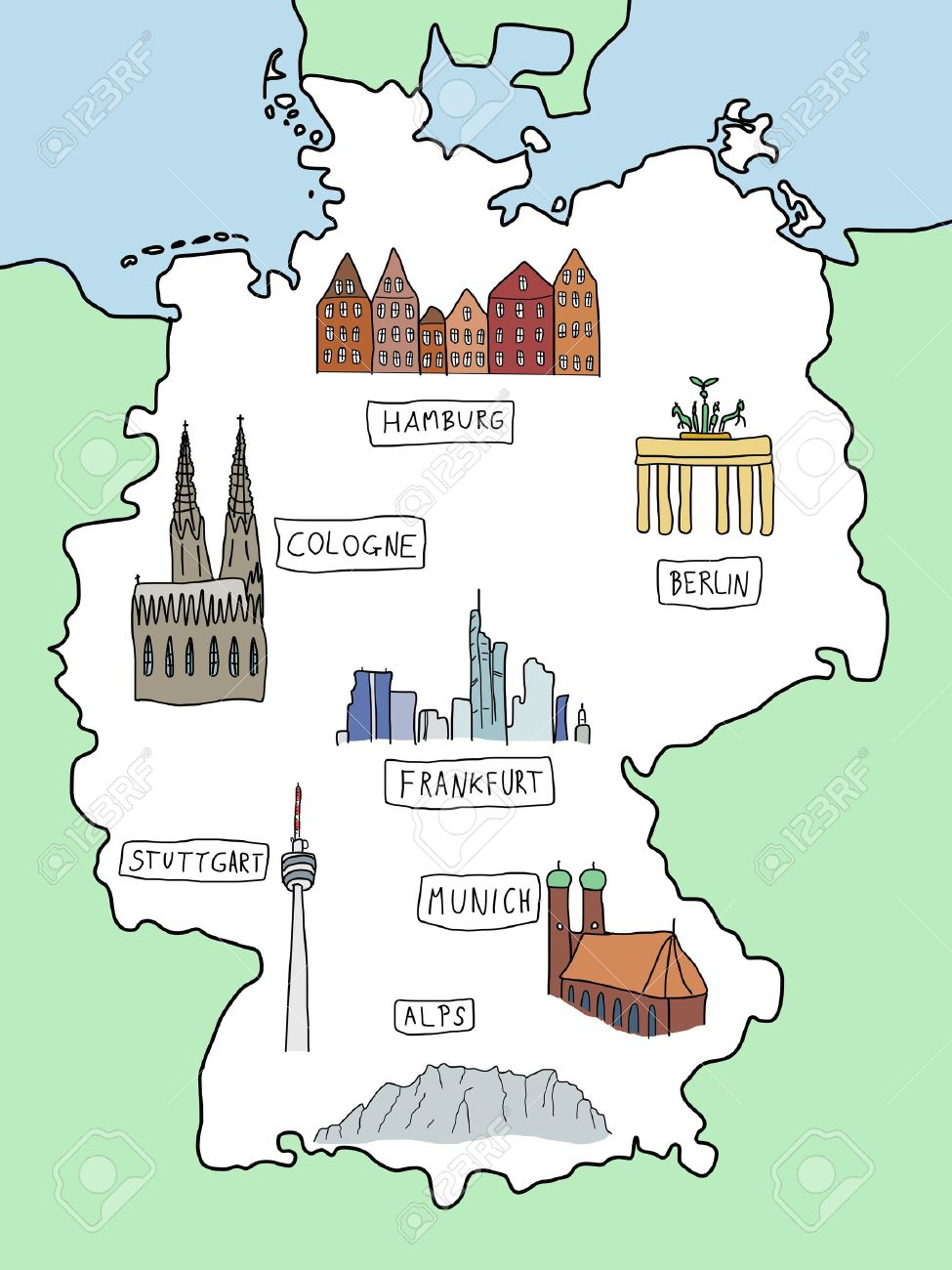 Map Of Germany Showing Cologne.Germany Doodle Map With Famous Places Berlin Hamburg Cologne