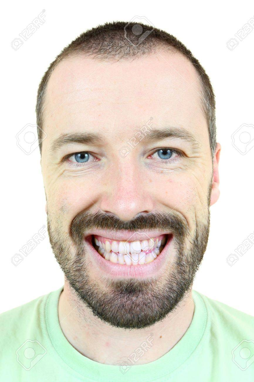 Happy smiling man. Young adult near his 30s - portrait isolated against white background. Short-haired male. Stock Photo - 9577739