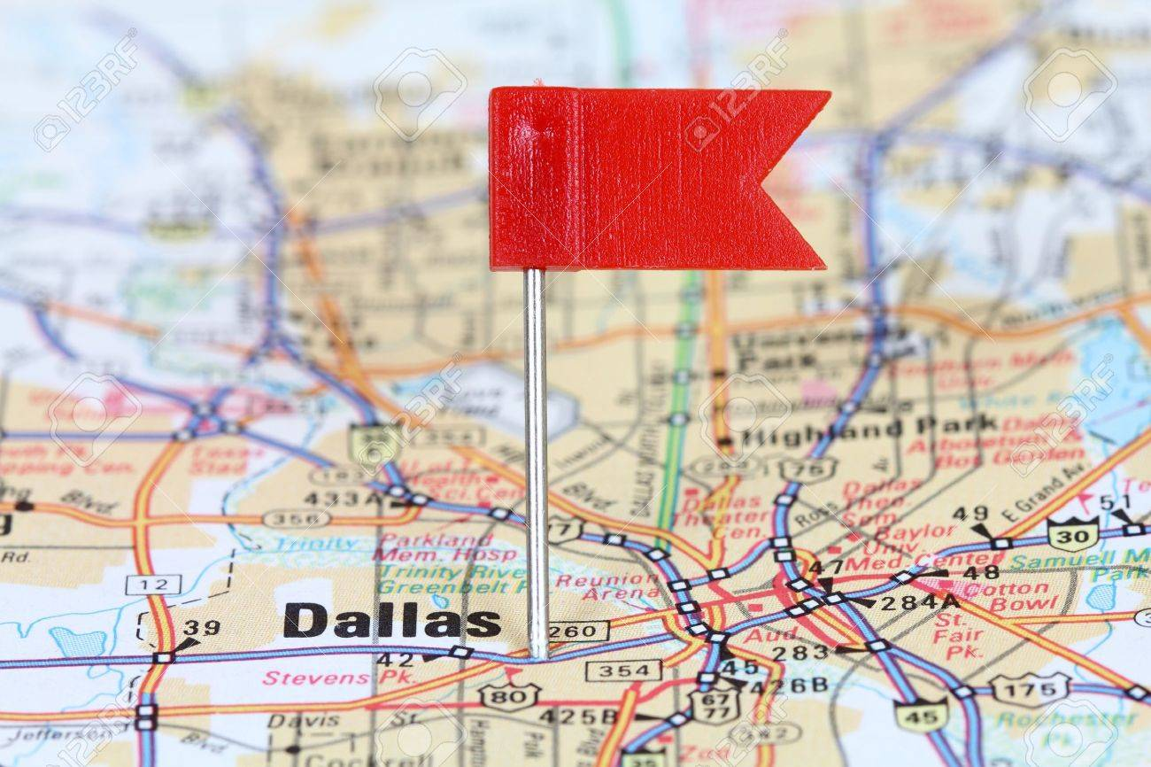 Old Dallas Map.Dallas Texas Red Flag Pin On An Old Map Showing Travel Destination