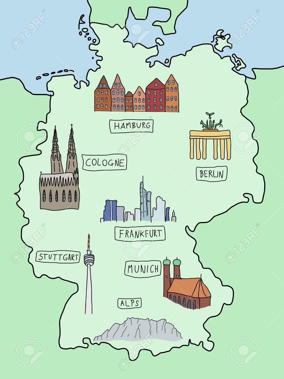 Hamburg Karte Sehenswurdigkeiten.Stock Photo